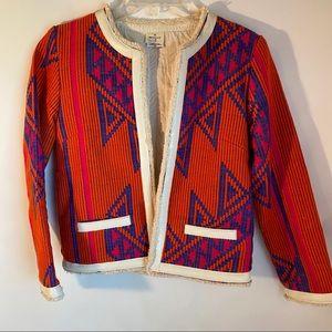 Hartford Sz 2 Orange Blue Aztec Fringe Jacket